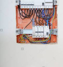 electrical installation close up electrical panel electricity distribution box with wires fuses and contactors [ 866 x 1390 Pixel ]