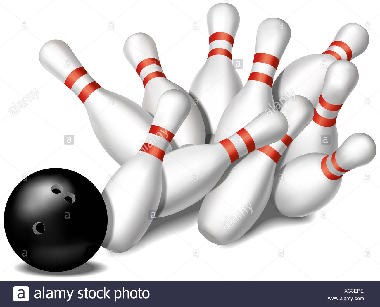 bowling pins being knocked
