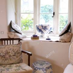 Stool Chair In Chinese Outdoor Portable Chairs Hand Worked Tapestry Cushion And Seat On Wooden Beside Blue White Porcelain Below Cottage Window