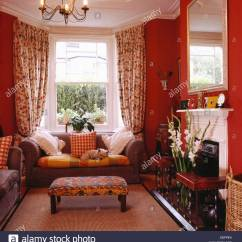 Curtains For Living Room With Grey Sofa Pendant Lights Uk Upholstered Stool And In Front Of Window Floral Red Eighties