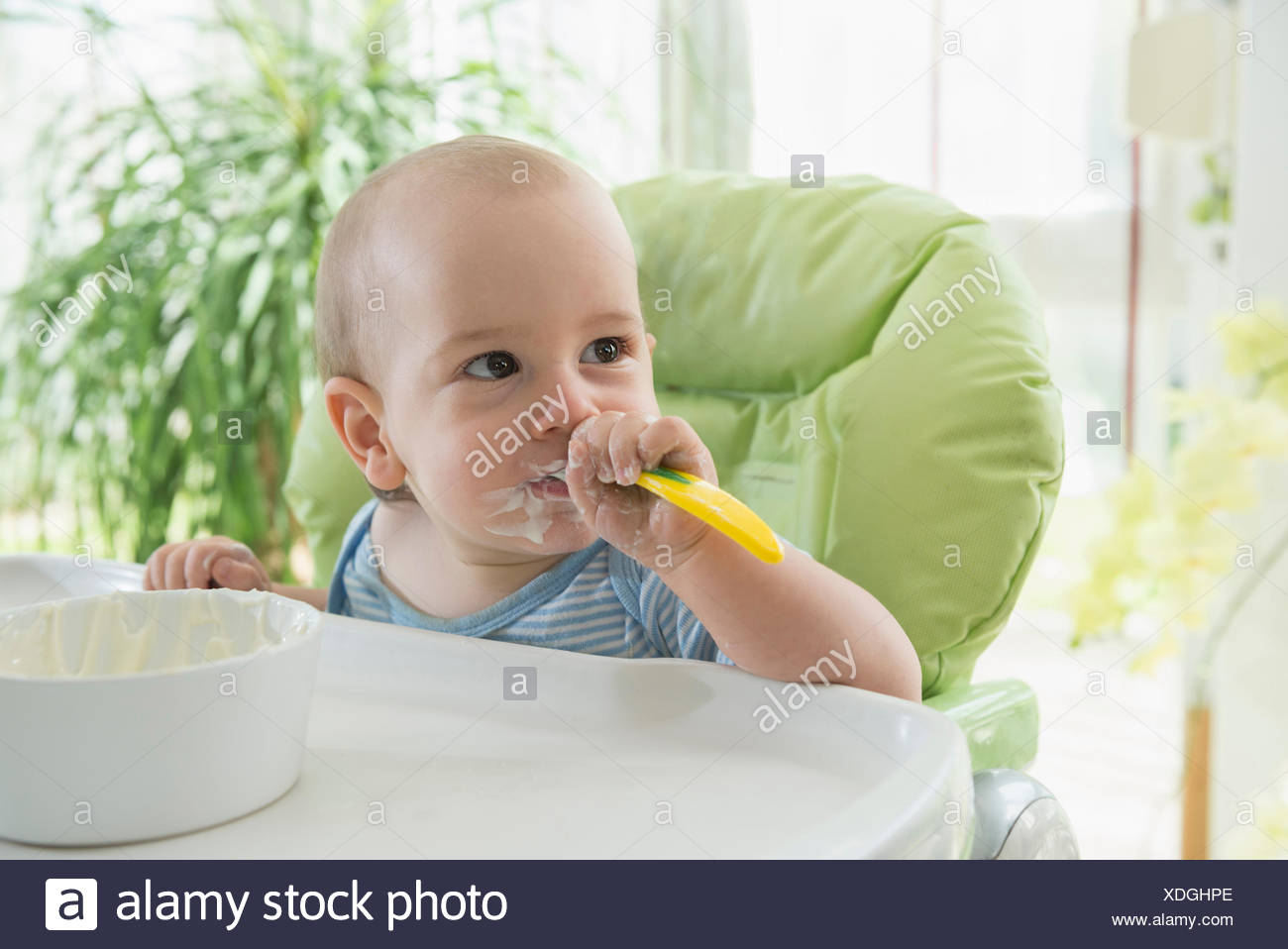 Baby Food Chair Messy Face Baby Eating Stock Photos And Messy Face Baby