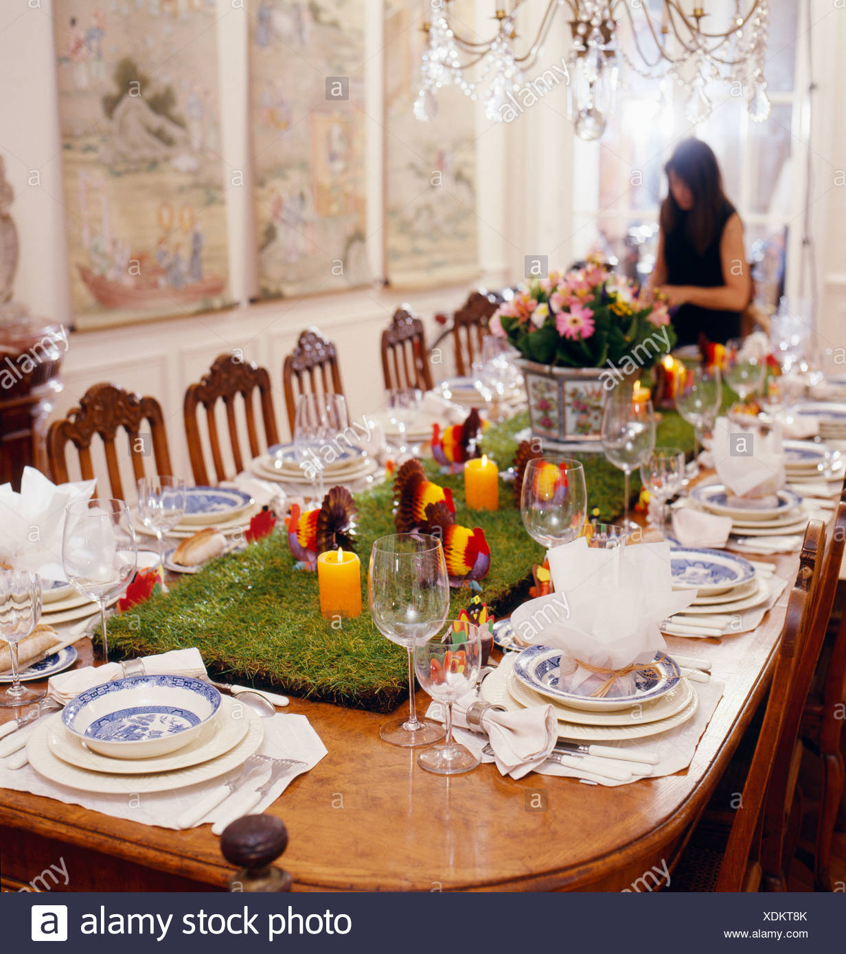 thanksgiving table setting stock