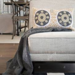 Patterned Living Room Chairs Teak Dining Uk Blanket And Pillow On Chair Stock Photo