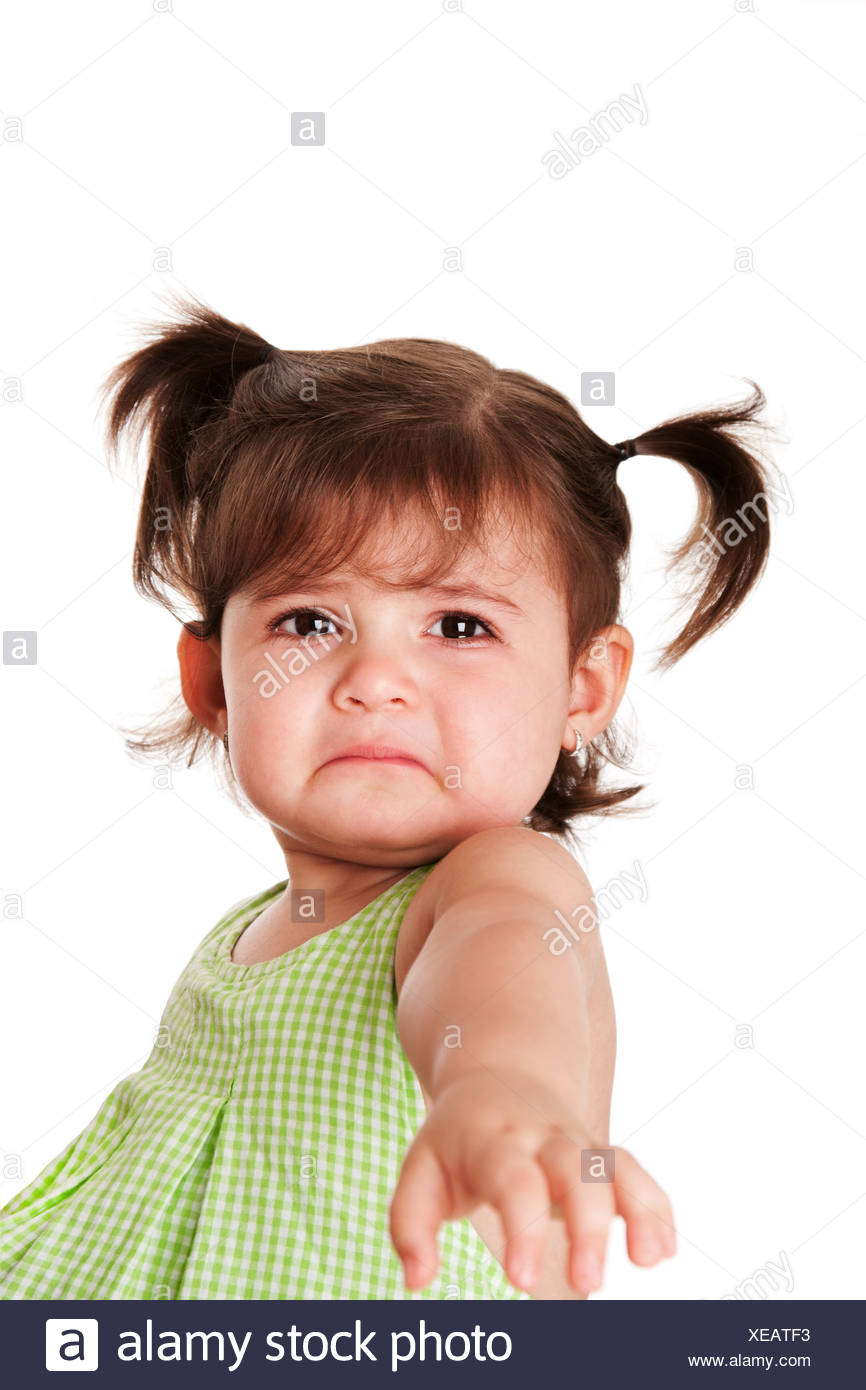 Sad Baby Girl Photo : photo, Toddler, Young, Little, Expression, Reaching, Help,, Isolated, Stock, Photo, Alamy