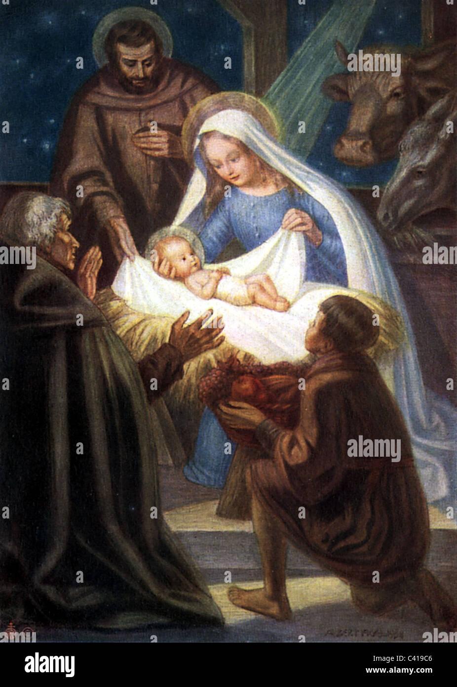 Weihnachten Krippe Heilige Maria Josef Und Jesuskind Im