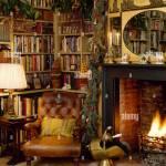 Ledersessel Vor Bucherregalen Und Kamin Mit Brennenden Feuer Im Wohnzimmer Gemutlich Land Fur Weihnachten Dekoriert Stockfotografie Alamy