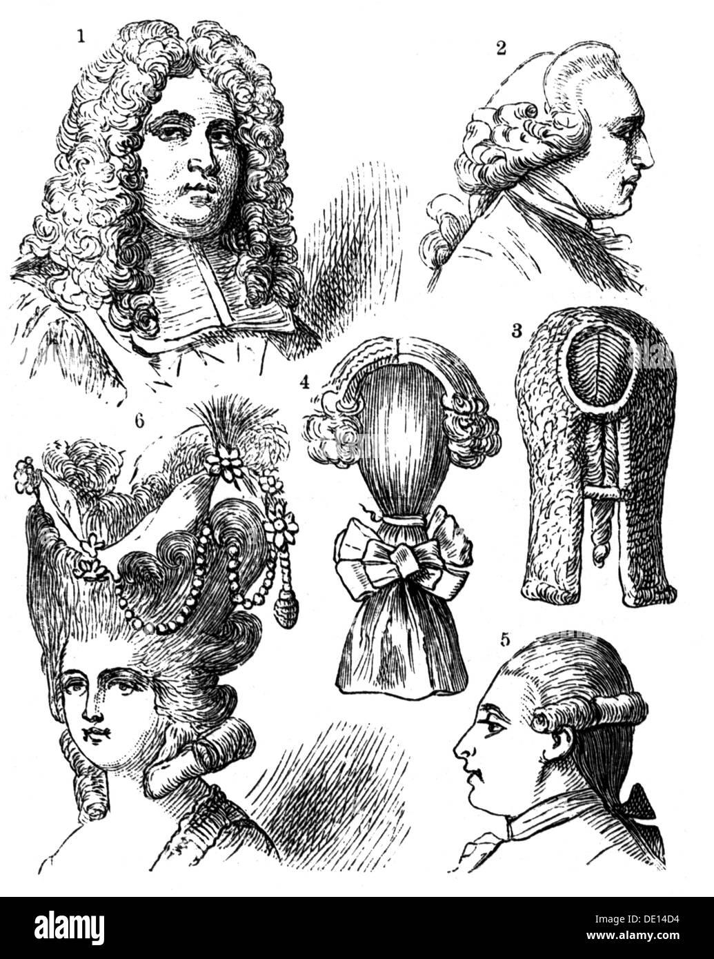 Mode Frisuren Verschiedene Perücke Holzstich 19 17 18 19