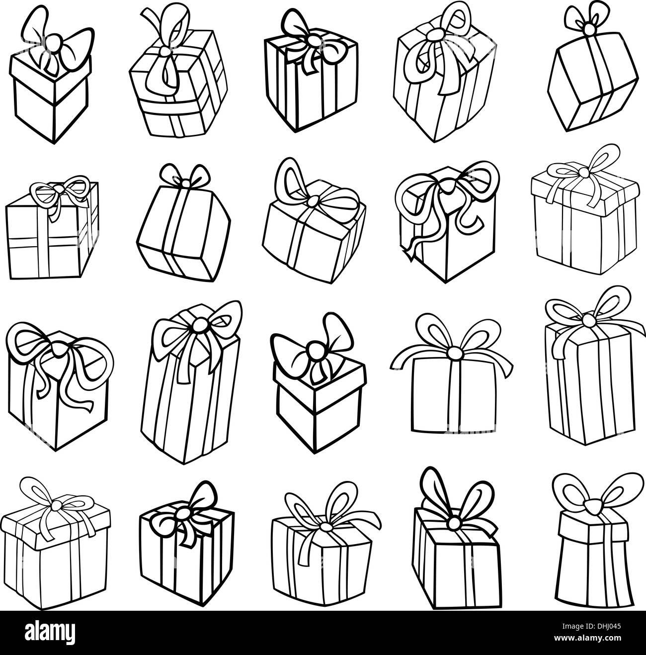 Schwarz Wei Cartoon Illustration Von Weihnachten Oder