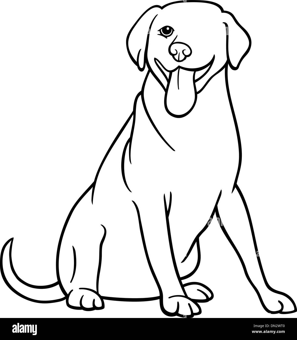 Labrador Retriever Hund Cartoon zum Ausmalen Vektor