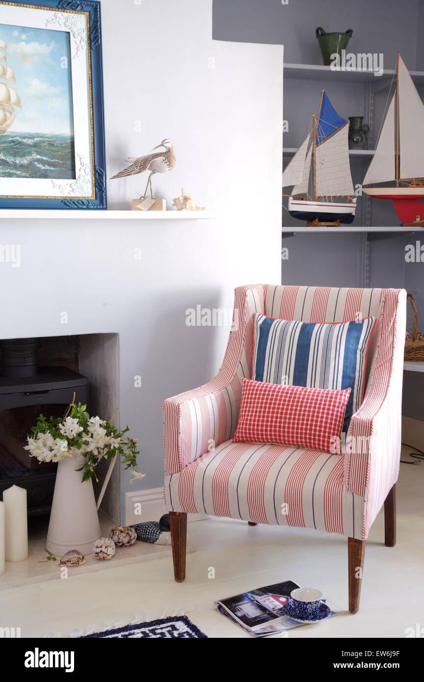 Gestreifter Sessel Blau Gestreifte Italienische Sessel Aus Samt