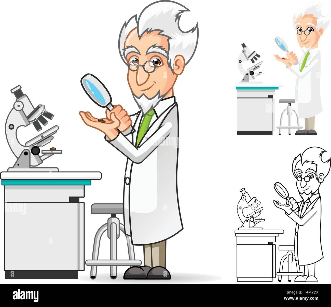 Wissenschaftler Cartoon Figur Halt Eine Lupe Mit Mikroskop