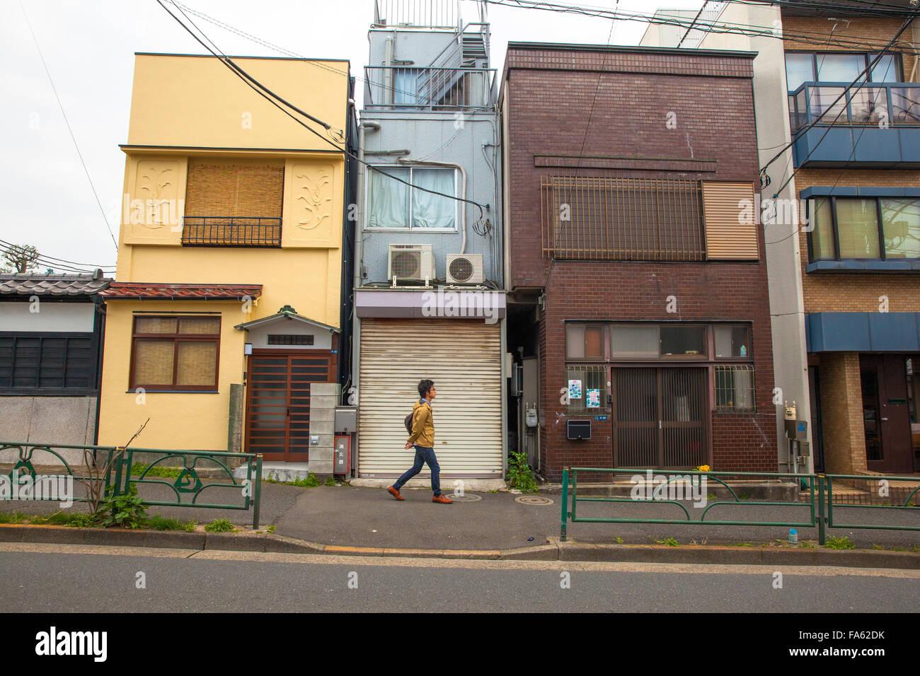 Japanische Häuser in Yanaka Nachbarschaft im alten Tokio Stockfoto