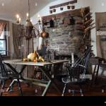 Esstisch Und Stuhle Im Fruhen Amerikanischen Primitiven Stil Stockfotografie Alamy