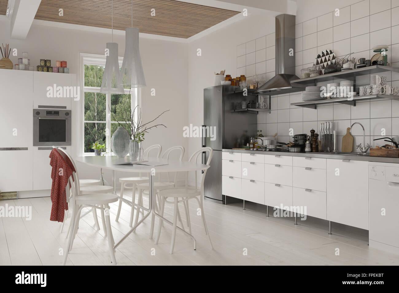 Küche Tisch Mit Schrank Stock Photo