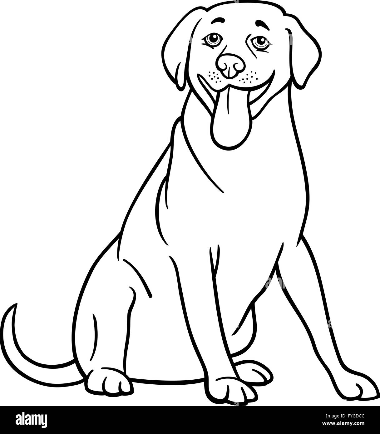 Labrador Retriever Hund Cartoon zum Ausmalen