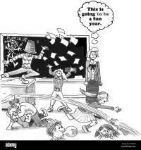 Bildung-Cartoon ber eine chaotische Klassenzimmer ...
