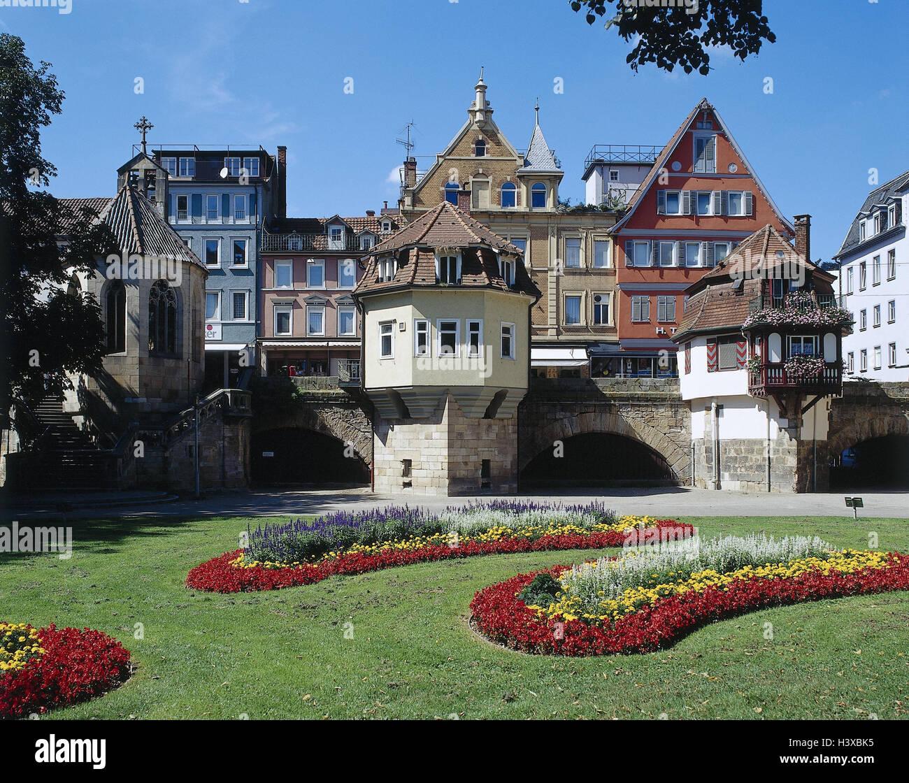 Deutschland BadenWurttemberg Esslingen am Neckar Maille Stadtpark Huser Gebude Brcken