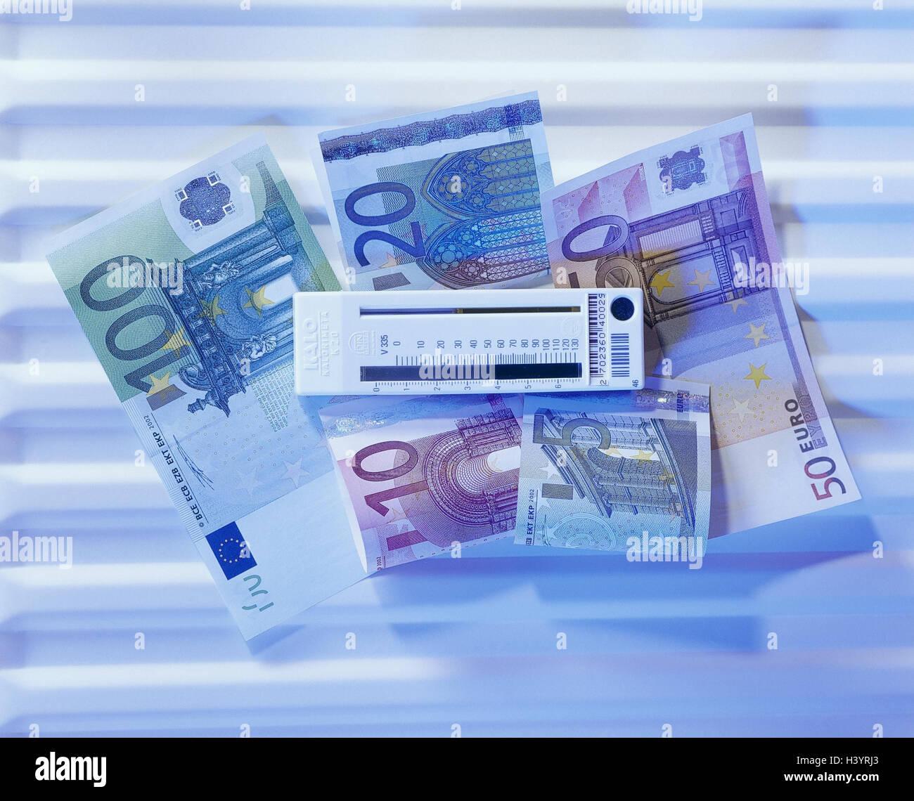 Heizungen, Detail, Kalorimeter, Banknoten, Euro, Stillleben