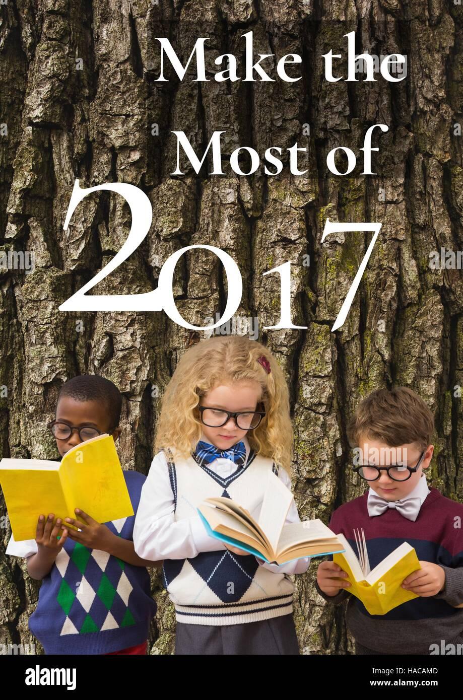 Neues Jahr Grus Zitate Auf Baum Und Drei Kinder Bucher Zu Lesen