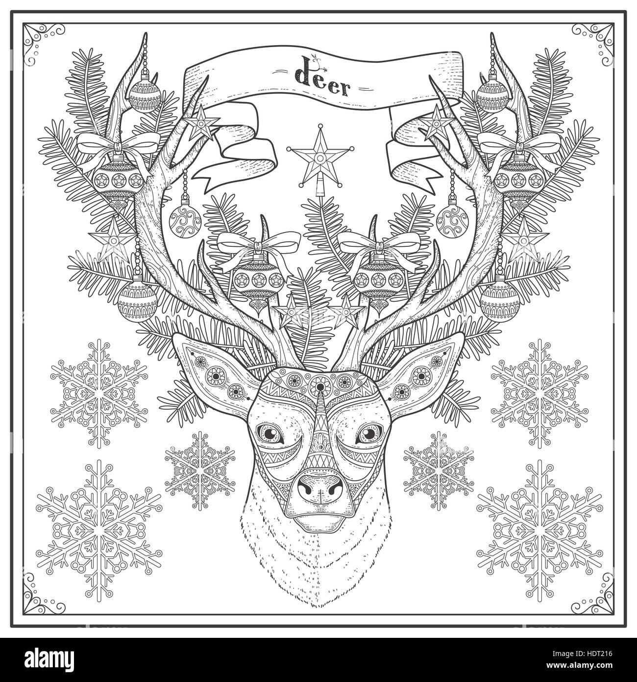Anmutige Hirsch Malvorlagen Weihnachten stilgerecht Vektor