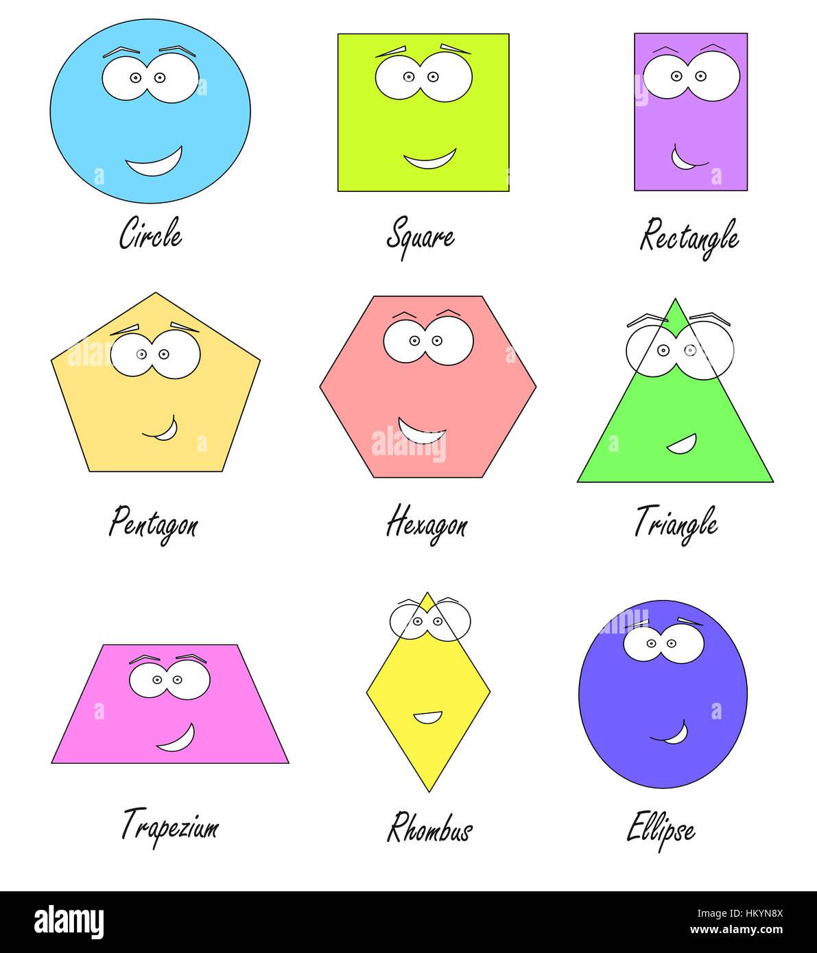 Geometrische Formen Mit Lustigen Gesichtern