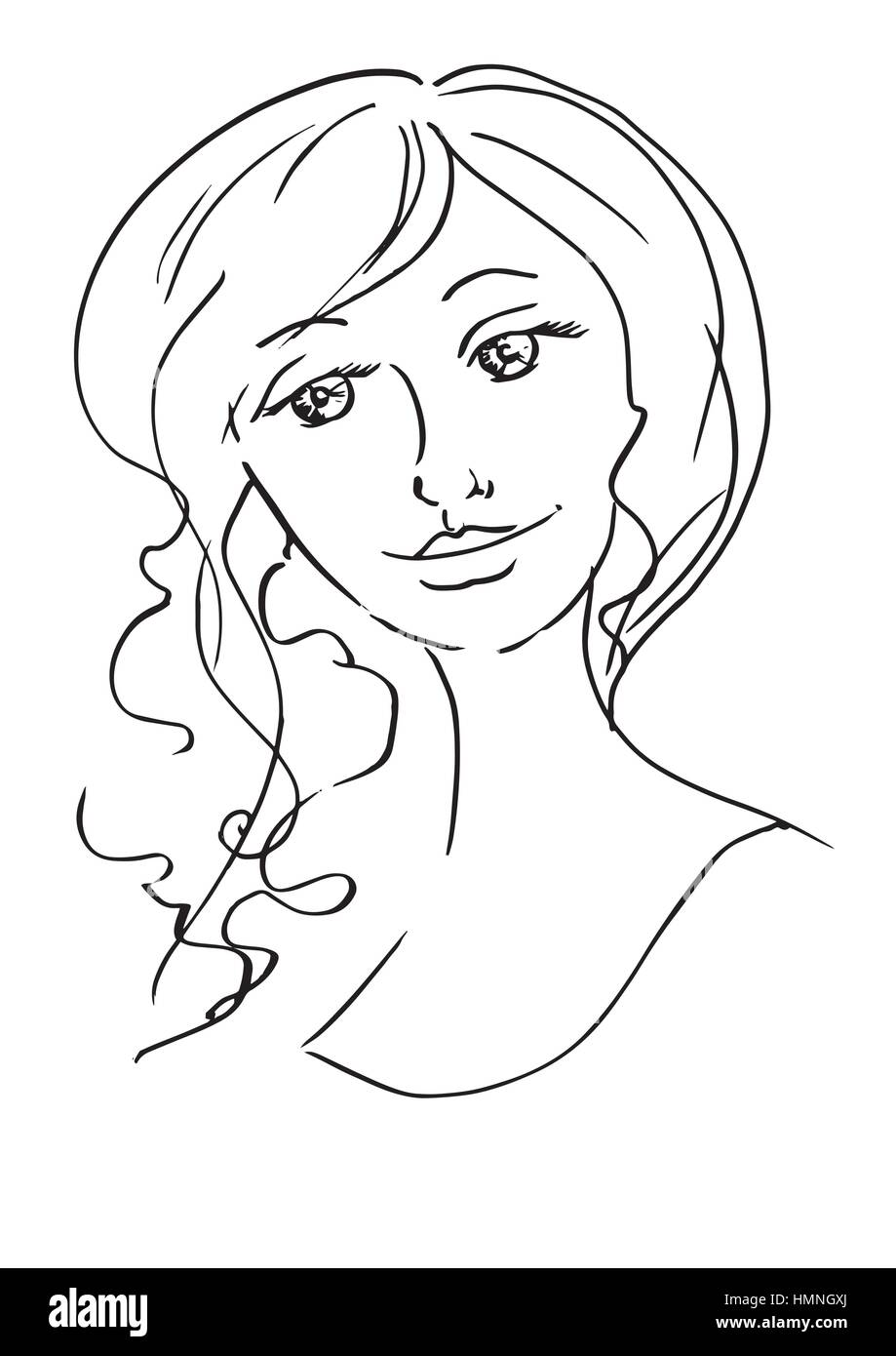 Schöne junge Frau Skizzieren Sie Hand-Zeichnung Kontur