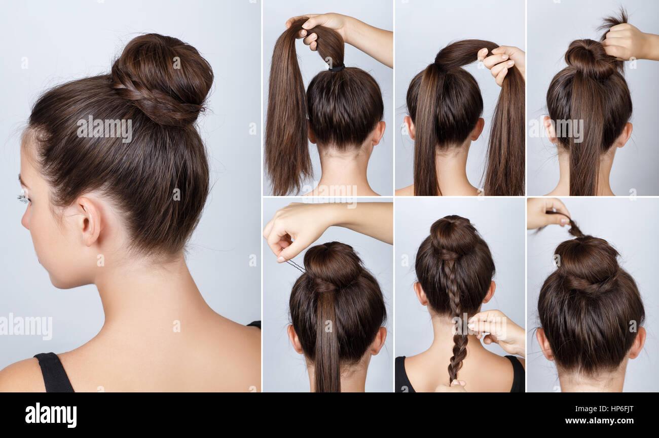 Frisur Tutorial Elegante Brötchen Mit Zopf Einfache Frisur Verdreht