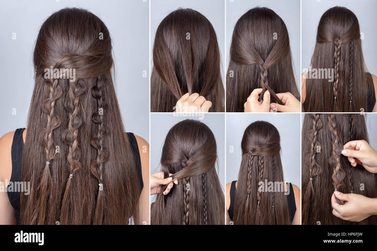 Prozess des Webens Zopf Frisur fr lange Haare BohoStil