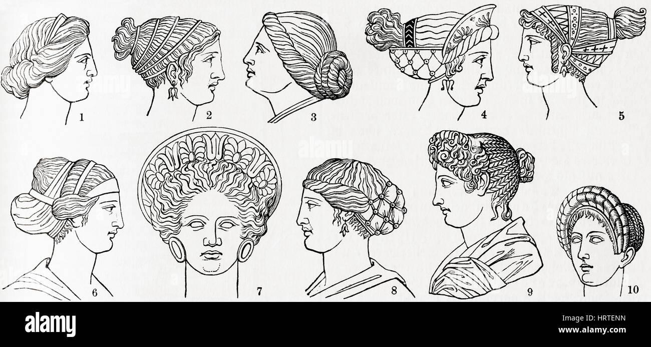 Nummern 1 Bis 8 Griechische Frisuren Nummern 9 Und 10 Römische