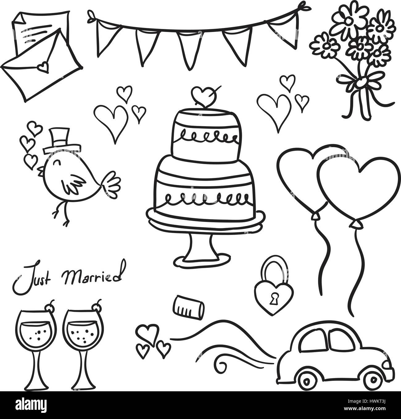 Hochzeit Hand in Kritzeleien Vektorgrafiken zeichnen