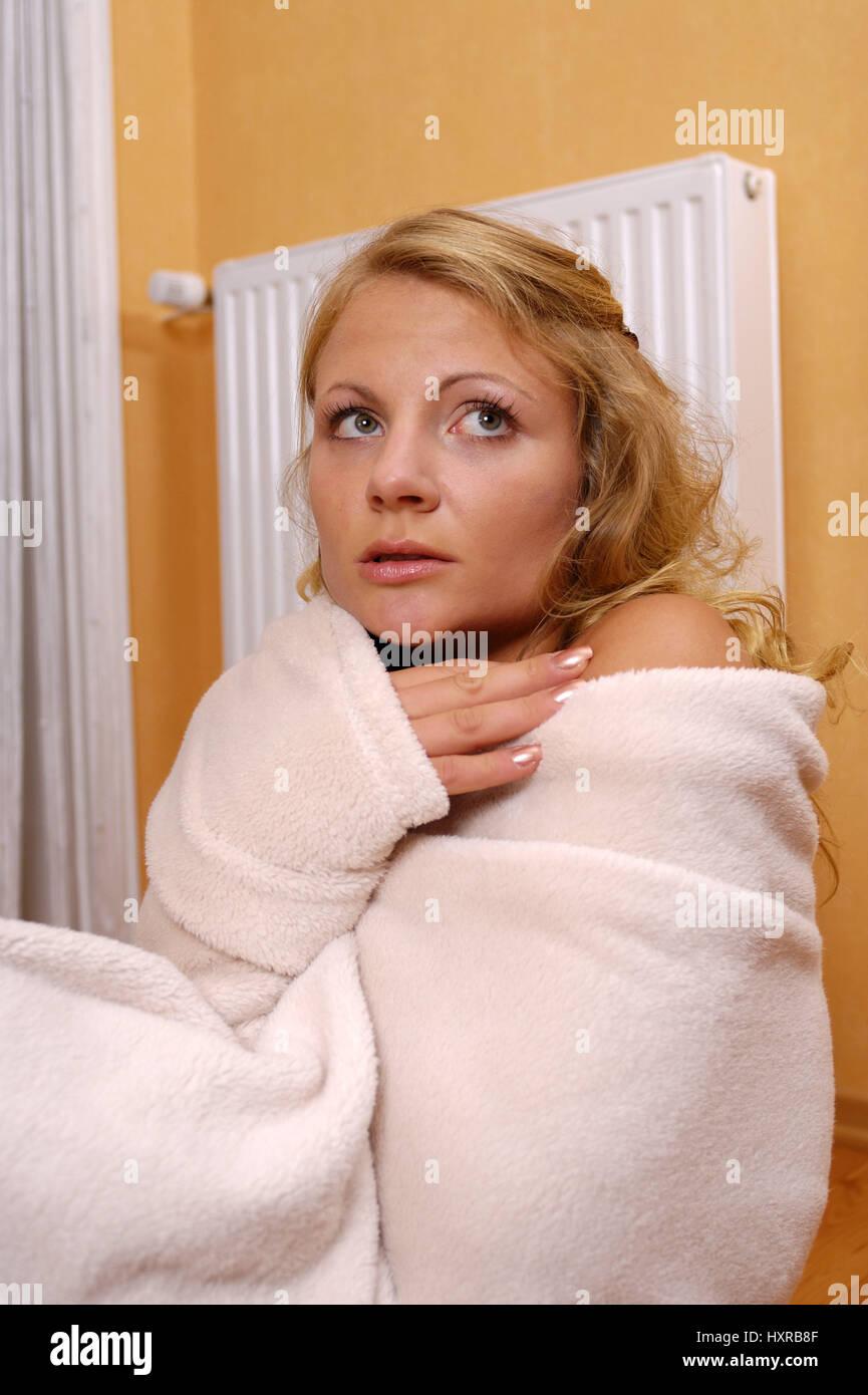 Frau, Frauen, Einfrieren, Einfrieren, Heizung, Heizungen, Wärme