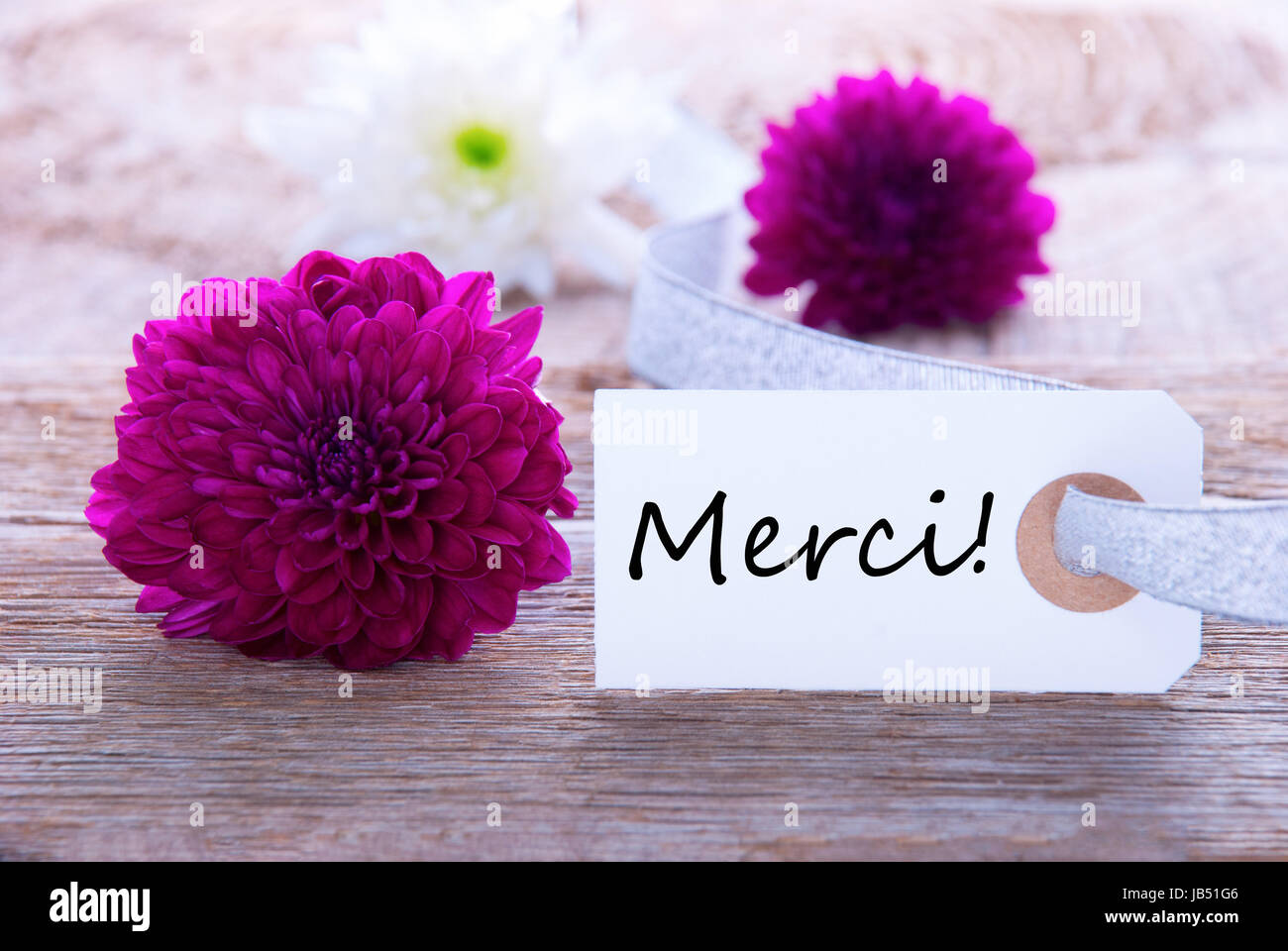 Merci Card With Flowers Stockfotos  Merci Card With