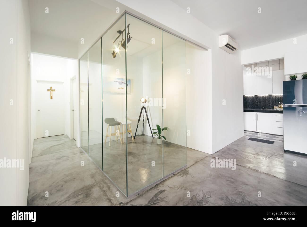moderne helle saubere leben arbeitszimmer und kuche