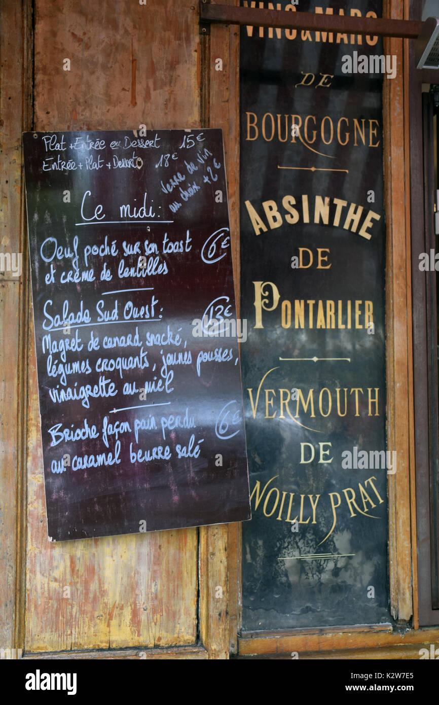 franzosische tafel menu stockfotos und