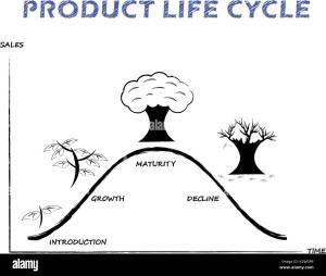 Schwarz & Weiß Produktlebenszyklus Diagramm zeiche mit