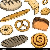 Brot und Gebäck Doughnut, lange Brot, Baguette und Kuchen ...