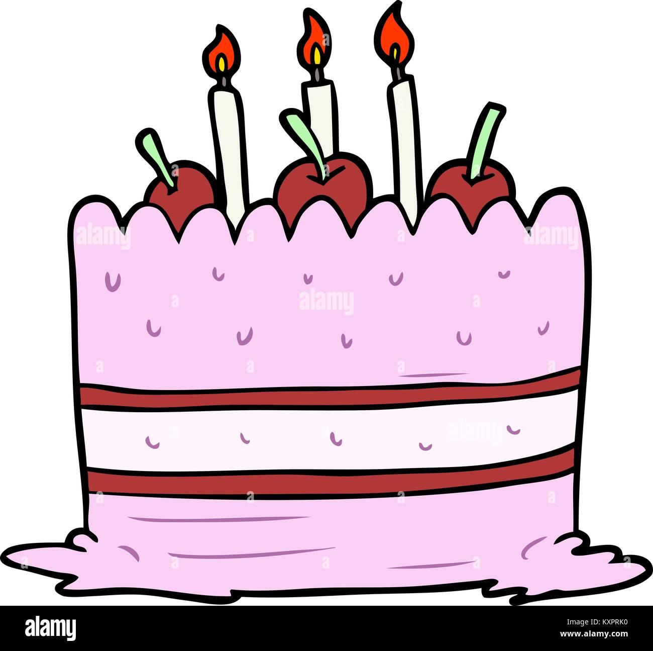 Cartoon Geburtstagskuchen Vektor Abbildung  Bild