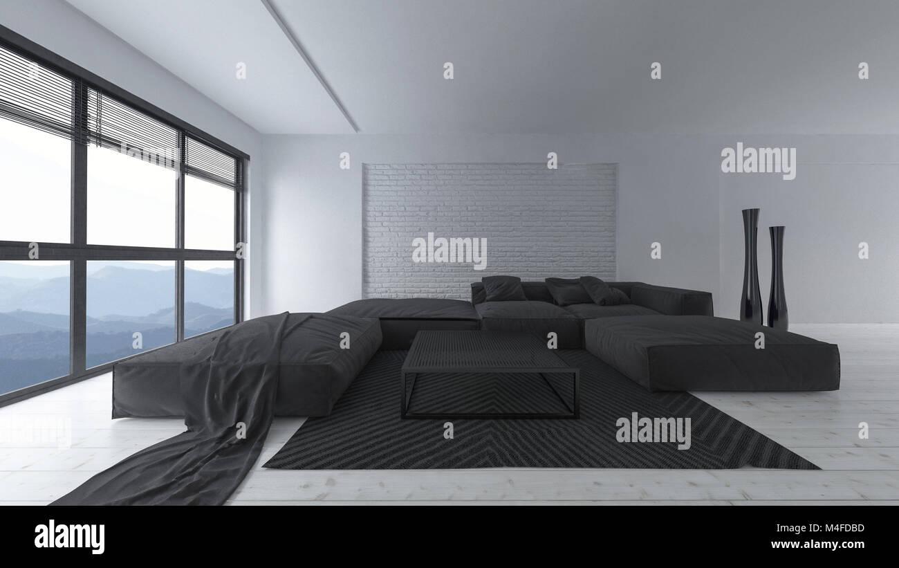 Moderne in Wei und Schwarz designer Wohnzimmer Einrichtung mit groen gepolsterten Sofas und