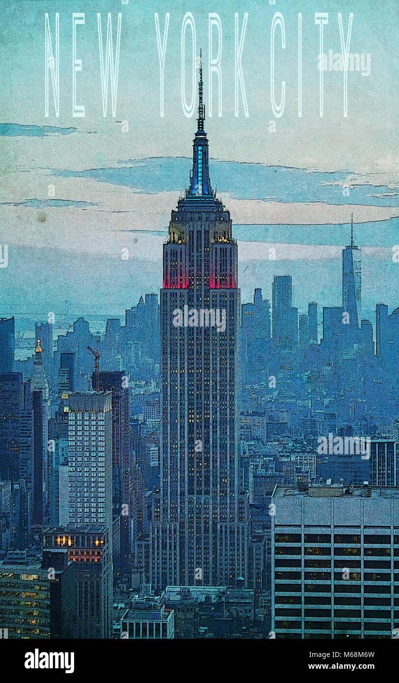 new york poster stockfotos und bilder