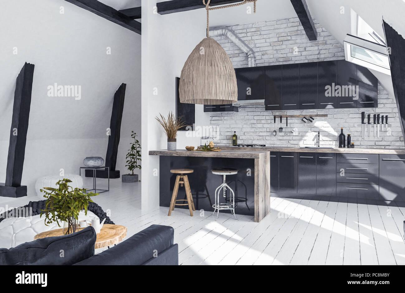 Luxury Black Loft Style Kitchen Stockfotos  Luxury Black