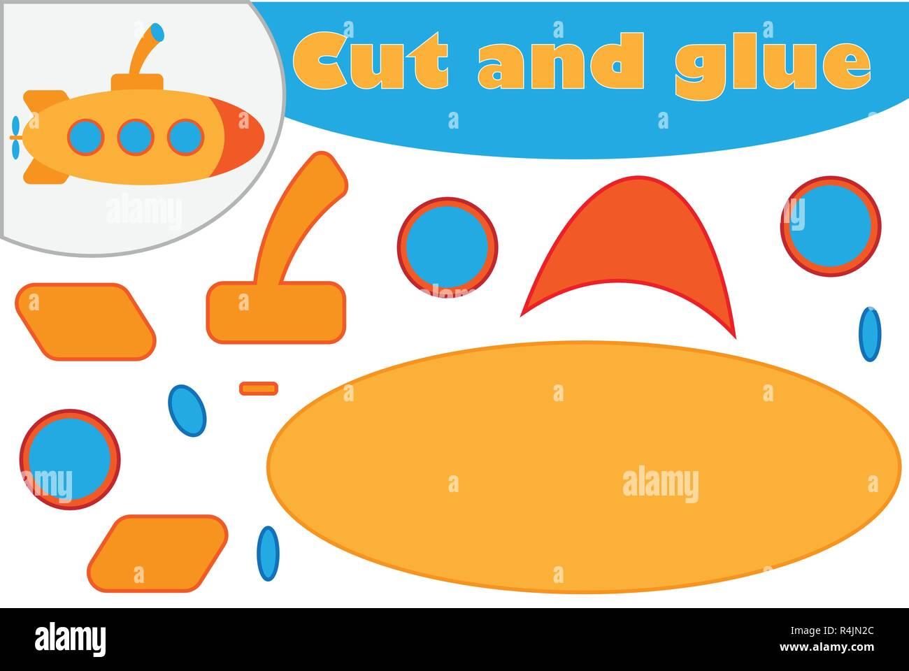 U Boot Im Comic Stil Bildung Spiel Fur Entwicklung Der Kinder Im Vorschulalter Mit Schere