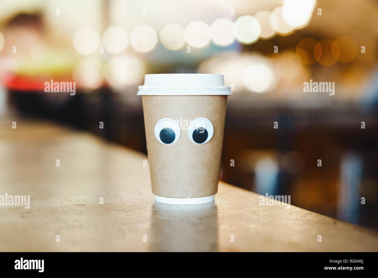 cartoon augen im cafe konzept