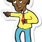 Aufkleber Einer Cartoon Lustig Buro Mann Zeigend Stock Vektorgrafik Alamy