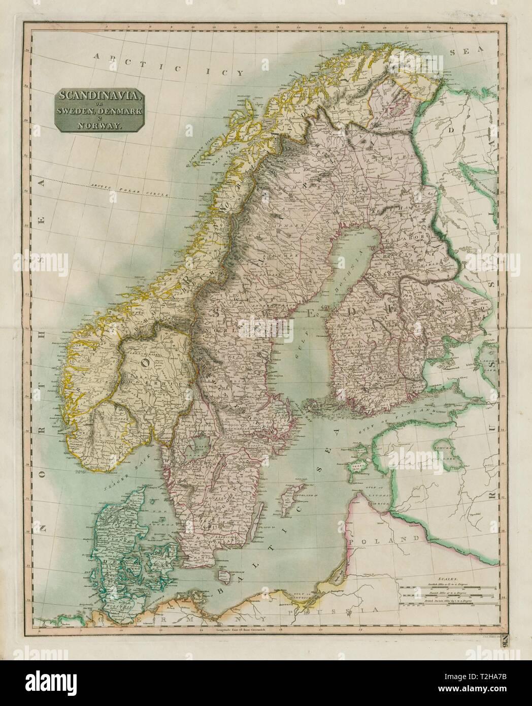 Karte Skandinavien.Karte Dänemark Schweden Finnland