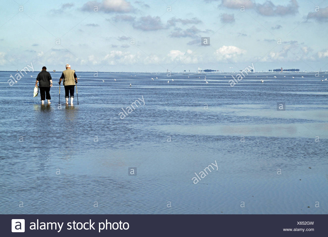 Cuxhaven Germany People Low Tide Stockfotos  Cuxhaven