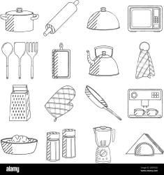 Utensilios de cocina juego ilustración/ dibujo en