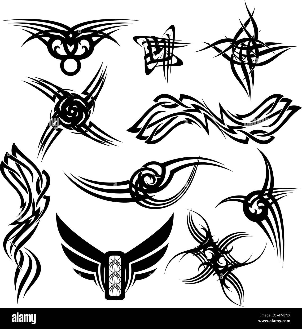 Tatuajes Góticos Ilustrado Con Numerosas Variaciones Todo Negro
