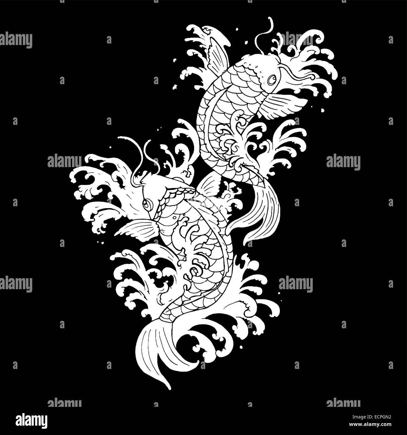 Tradicional Pez Koi Tatuaje Ilustración En Blanco Y Negro