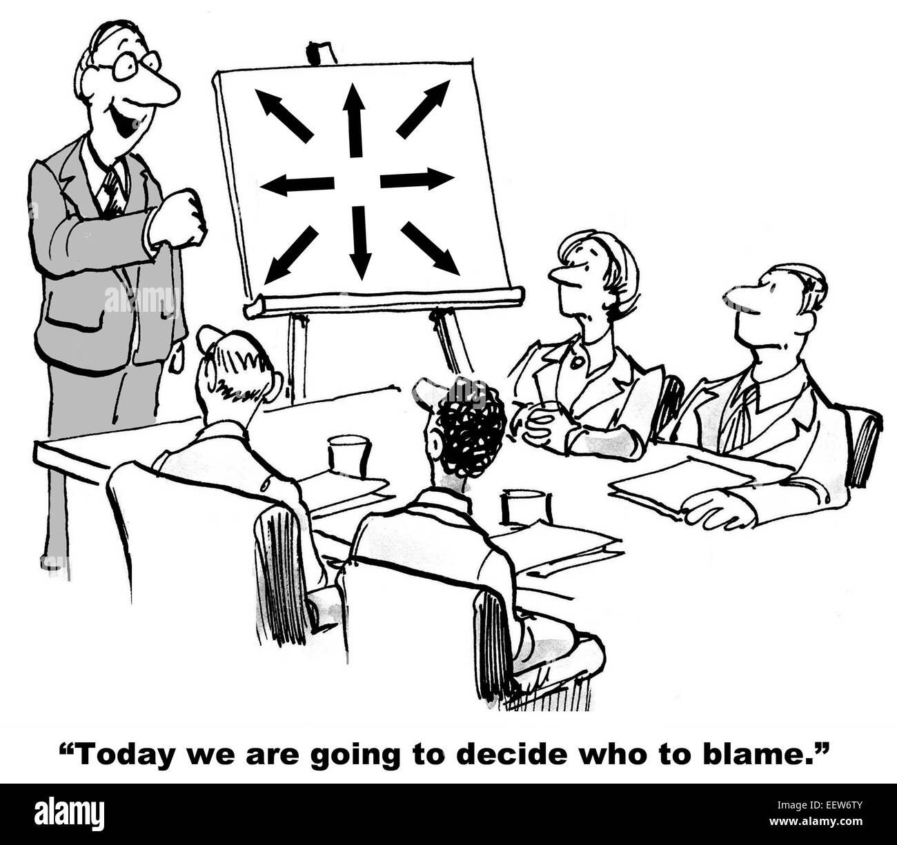 Caricatura De Empresarios En Una Reunion Con El Jefe Que