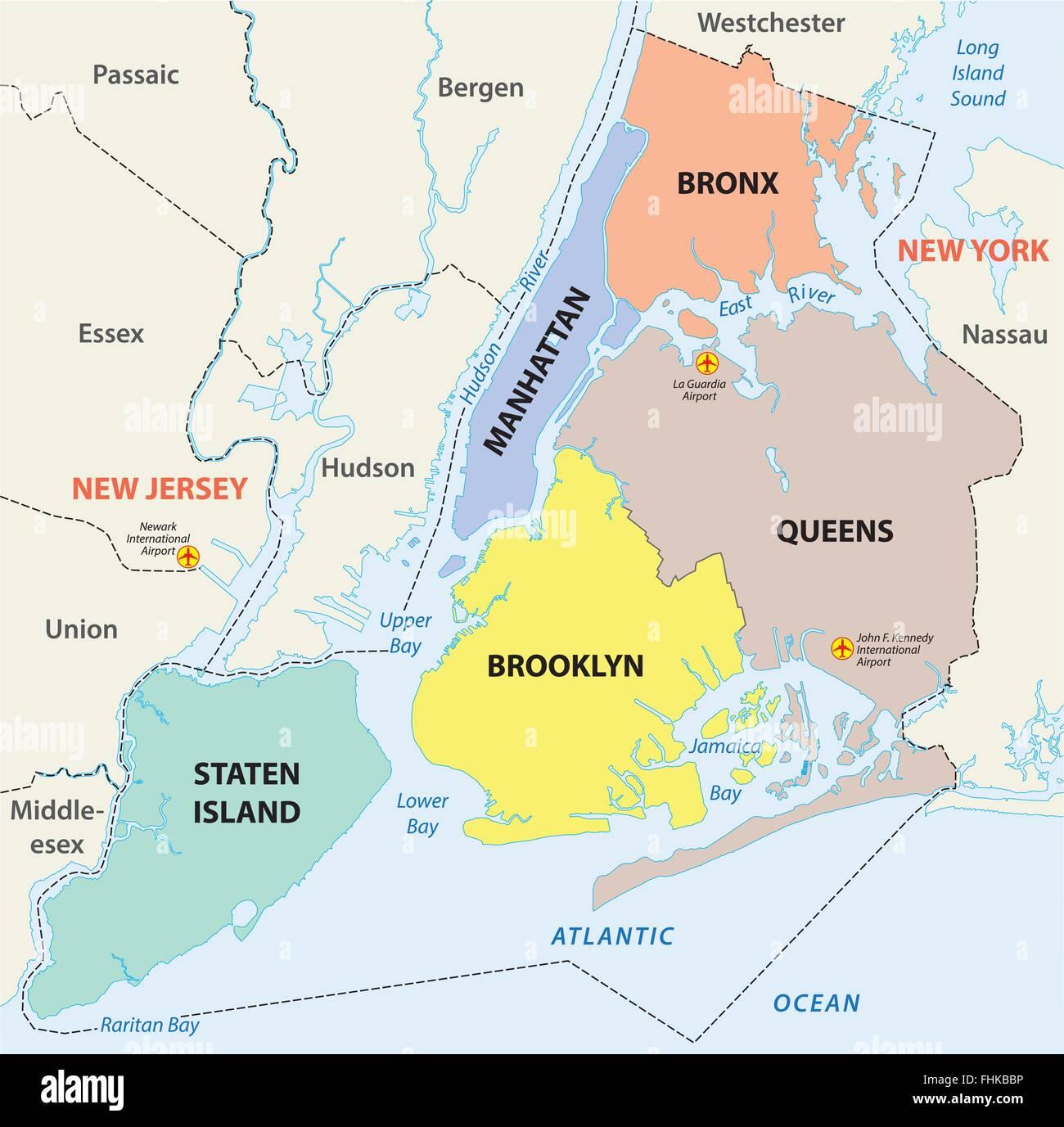La Ciudad De Nueva York 5 Distritos Mapa Ilustracion Del